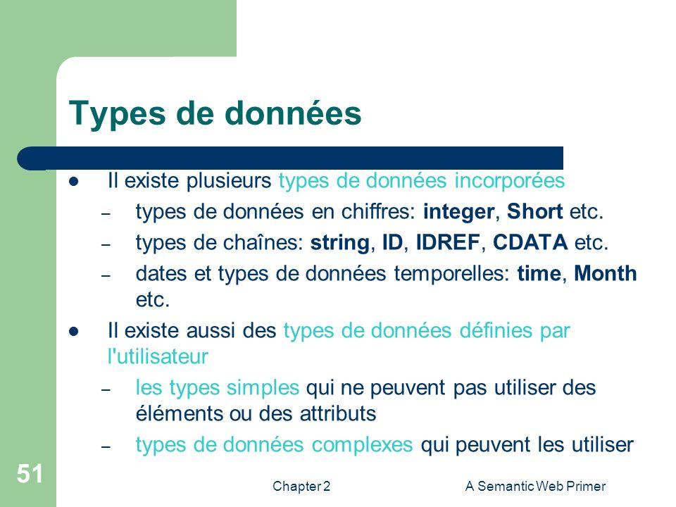 Chapter 2A Semantic Web Primer 51 Types de données Il existe plusieurs types de données incorporées – types de données en chiffres: integer, Short etc