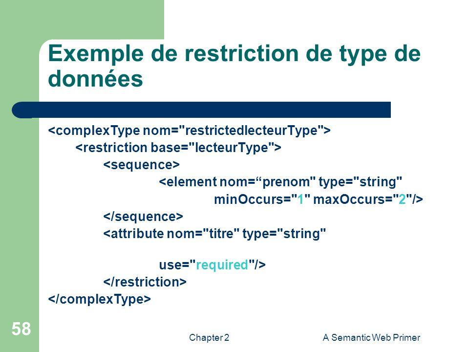 Chapter 2A Semantic Web Primer 58 Exemple de restriction de type de données <element nom=prenom