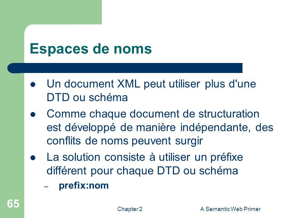 Chapter 2A Semantic Web Primer 65 Espaces de noms Un document XML peut utiliser plus d'une DTD ou schéma Comme chaque document de structuration est dé