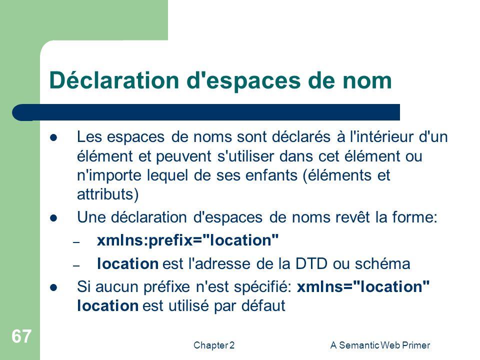 Chapter 2A Semantic Web Primer 67 Déclaration d'espaces de nom Les espaces de noms sont déclarés à l'intérieur d'un élément et peuvent s'utiliser dans
