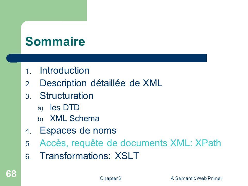 Chapter 2A Semantic Web Primer 68 Sommaire 1. Introduction 2. Description détaillée de XML 3. Structuration a) les DTD b) XML Schema 4. Espaces de nom