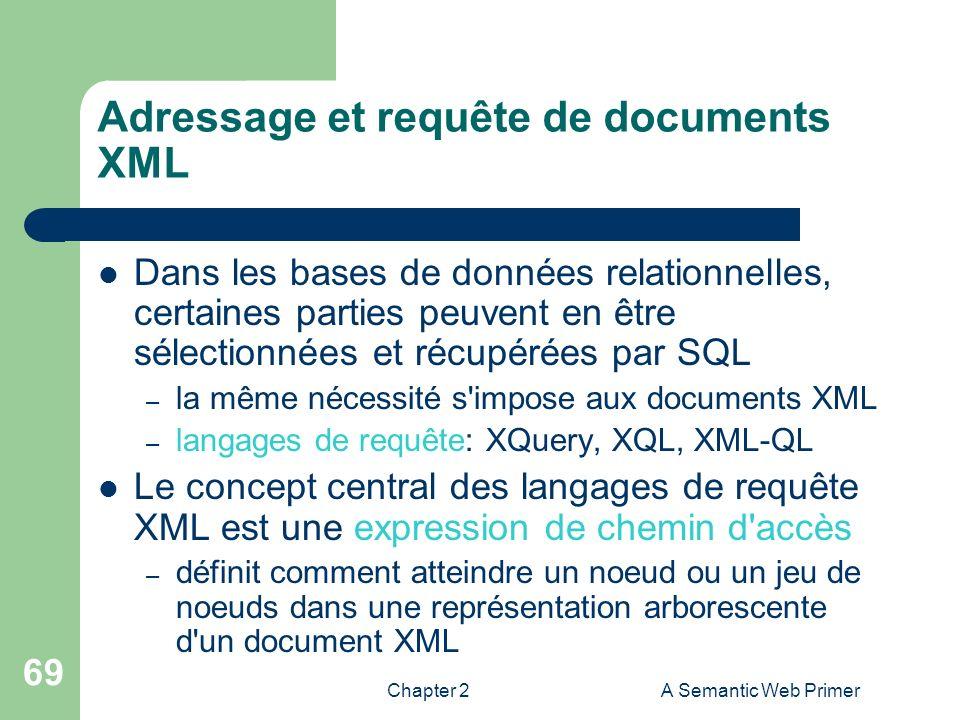 Chapter 2A Semantic Web Primer 69 Adressage et requête de documents XML Dans les bases de données relationnelles, certaines parties peuvent en être sé