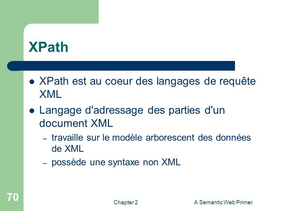 Chapter 2A Semantic Web Primer 70 XPath XPath est au coeur des langages de requête XML Langage d'adressage des parties d'un document XML – travaille s