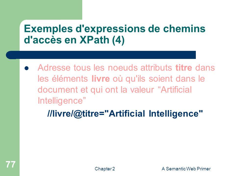 Chapter 2A Semantic Web Primer 77 Exemples d'expressions de chemins d'accès en XPath (4) Adresse tous les noeuds attributs titre dans les éléments liv