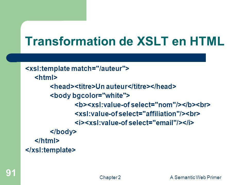 Chapter 2A Semantic Web Primer 91 Transformation de XSLT en HTML Un auteur