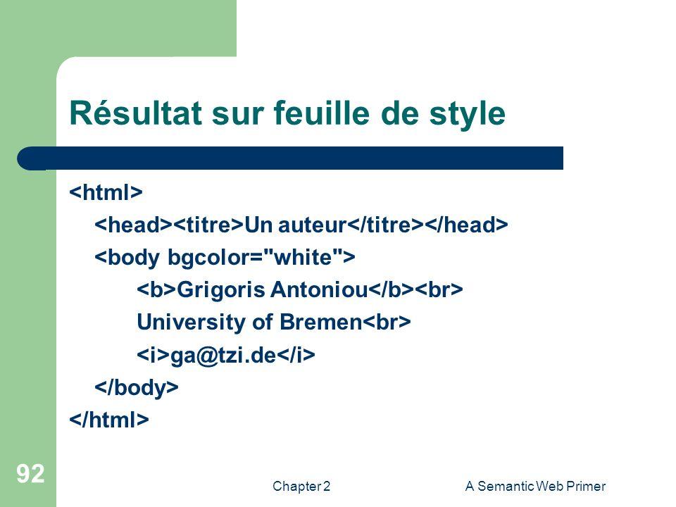 Chapter 2A Semantic Web Primer 92 Résultat sur feuille de style Un auteur Grigoris Antoniou University of Bremen ga@tzi.de