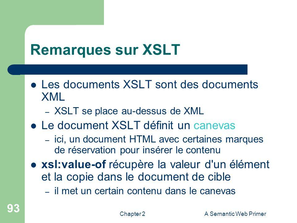 Chapter 2A Semantic Web Primer 93 Remarques sur XSLT Les documents XSLT sont des documents XML – XSLT se place au-dessus de XML Le document XSLT défin