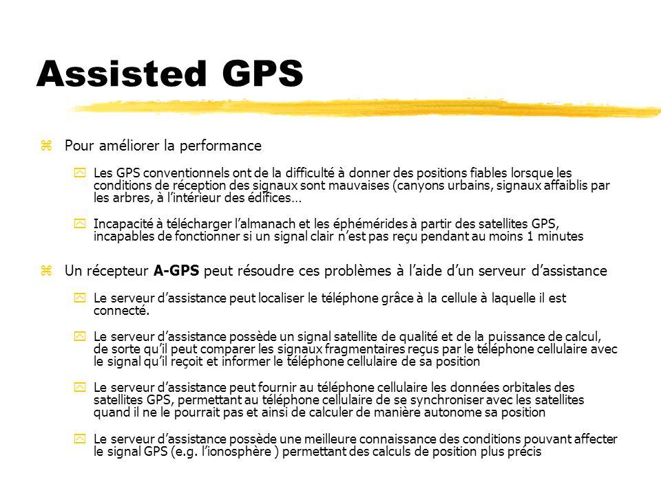 Assisted GPS zPour améliorer la performance yLes GPS conventionnels ont de la difficulté à donner des positions fiables lorsque les conditions de réce