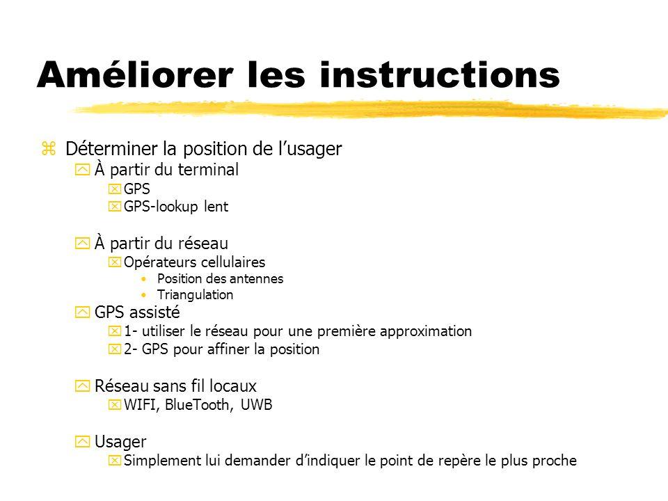 Améliorer les instructions zDéterminer la position de lusager yÀ partir du terminal xGPS xGPS-lookup lent yÀ partir du réseau xOpérateurs cellulaires