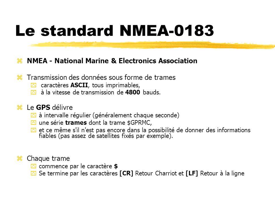 Le standard NMEA-0183 zNMEA - National Marine & Electronics Association zTransmission des données sous forme de trames y caractères ASCII, tous imprim