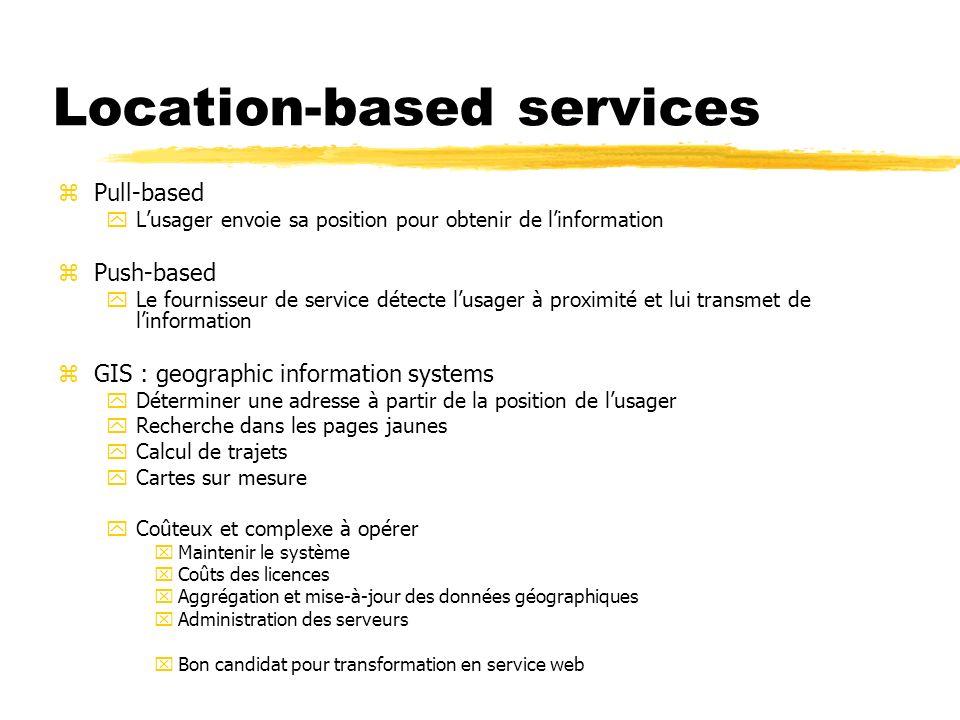 Location-based services zPull-based yLusager envoie sa position pour obtenir de linformation zPush-based yLe fournisseur de service détecte lusager à