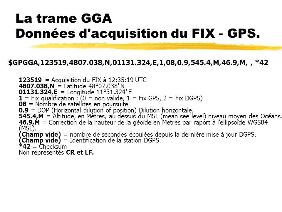 La trame GGA Données d'acquisition du FIX - GPS. $GPGGA,123519,4807.038,N,01131.324,E,1,08,0.9,545.4,M,46.9,M,, *42 123519 = Acquisition du FIX à 12:3