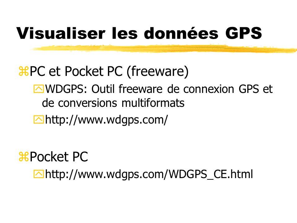Visualiser les données GPS zPC et Pocket PC (freeware) yWDGPS: Outil freeware de connexion GPS et de conversions multiformats yhttp://www.wdgps.com/ z