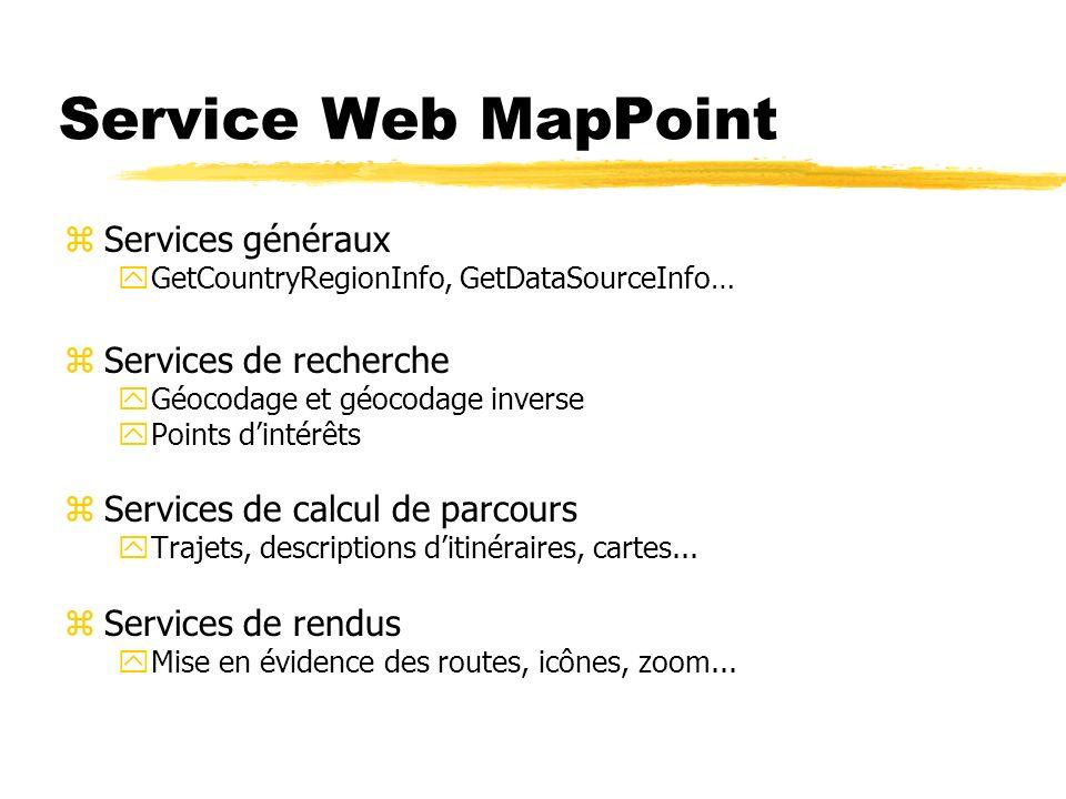 Service Web MapPoint zServices généraux yGetCountryRegionInfo, GetDataSourceInfo… zServices de recherche yGéocodage et géocodage inverse yPoints dinté