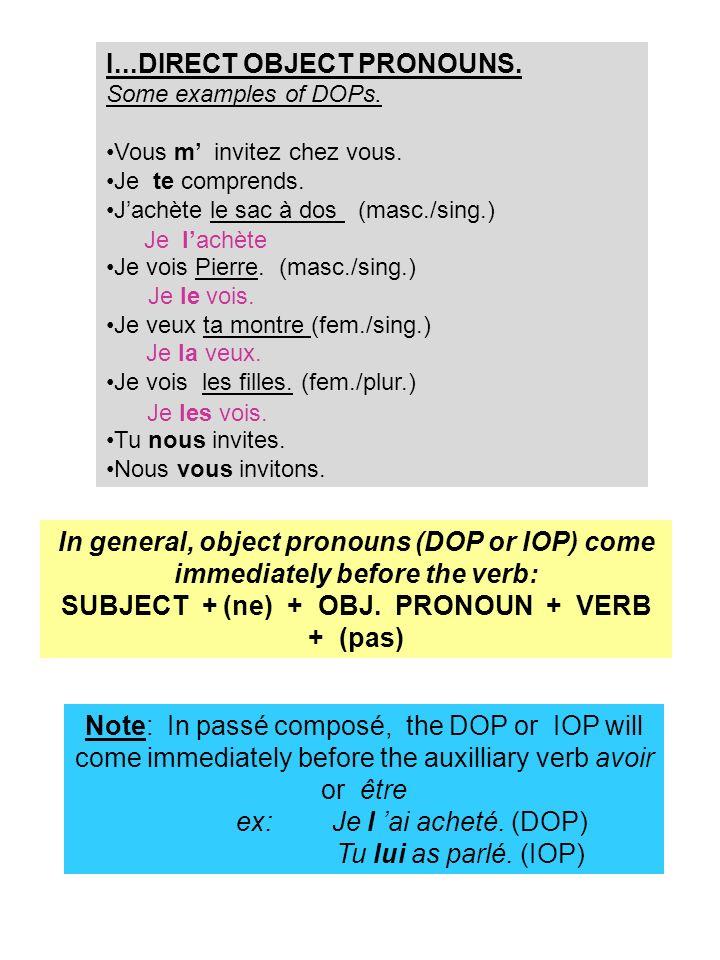 POUR PRATIQUER… (A) Des exercises avec les DOPs: Remplacez le mot souligné avec the DOP approprié.
