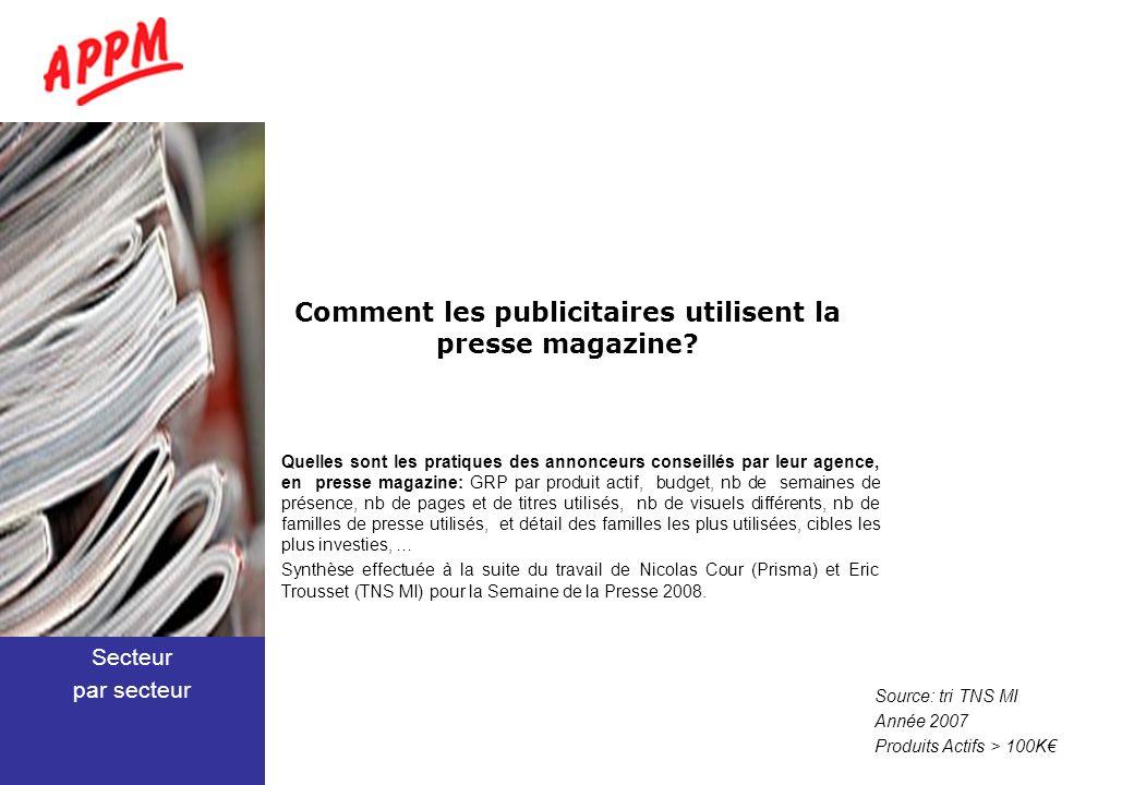 Comment les publicitaires utilisent la presse magazine? Quelles sont les pratiques des annonceurs conseillés par leur agence, en presse magazine: GRP