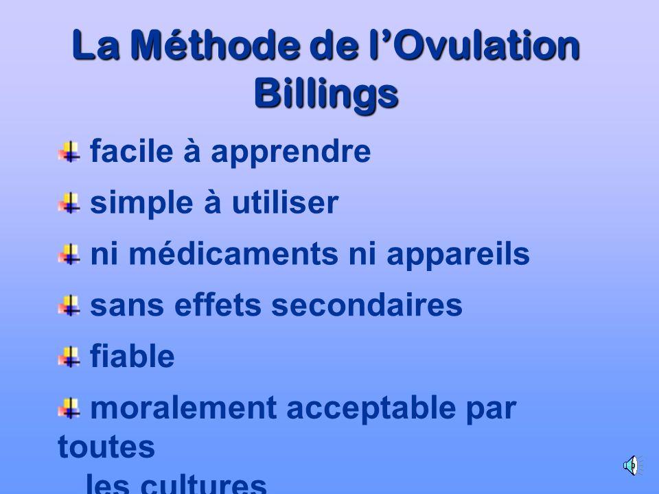 moralement acceptable par toutes les cultures La Méthode de lOvulation Billings facile à apprendre simple à utiliser ni médicaments ni appareils sans effets secondaires fiable