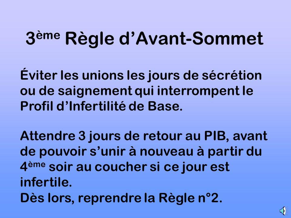 2 ème Règle dAvant-Sommet Union un soir sur deux, au coucher, dès lors que les jours ont été reconnus infertiles.