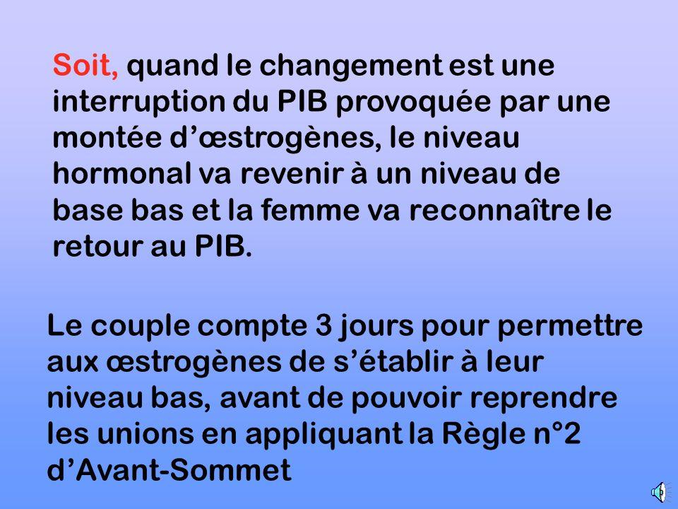 3 ème Règle dAvant-Sommet Attendre va permettre à la femme soit de reconnaître le Sommet auquel cas la Règle du Sommet est ensuite utilisée …………….