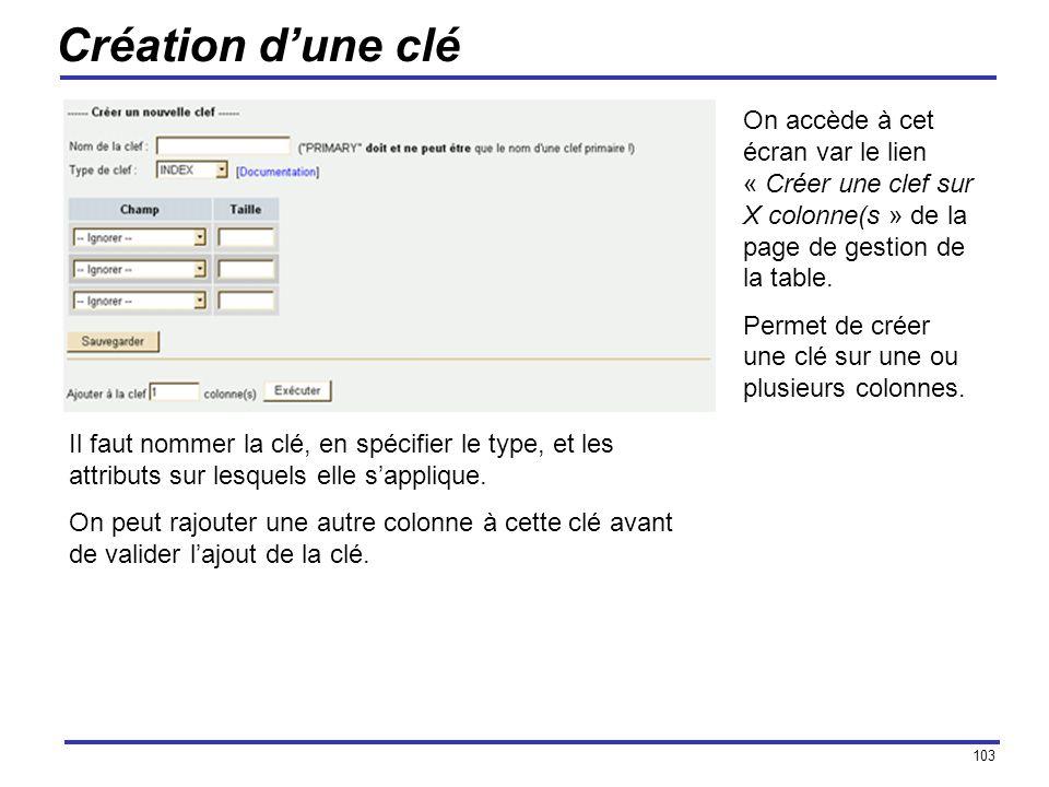 103 Création dune clé On accède à cet écran var le lien « Créer une clef sur X colonne(s » de la page de gestion de la table. Permet de créer une clé