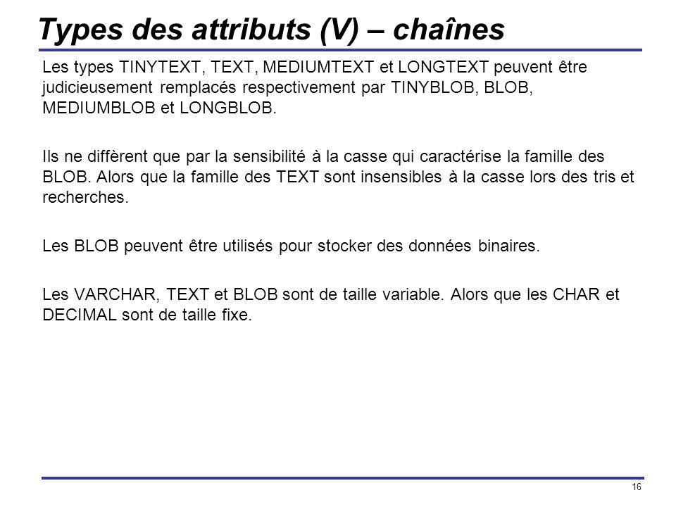 16 Types des attributs (V) – chaînes Les types TINYTEXT, TEXT, MEDIUMTEXT et LONGTEXT peuvent être judicieusement remplacés respectivement par TINYBLO