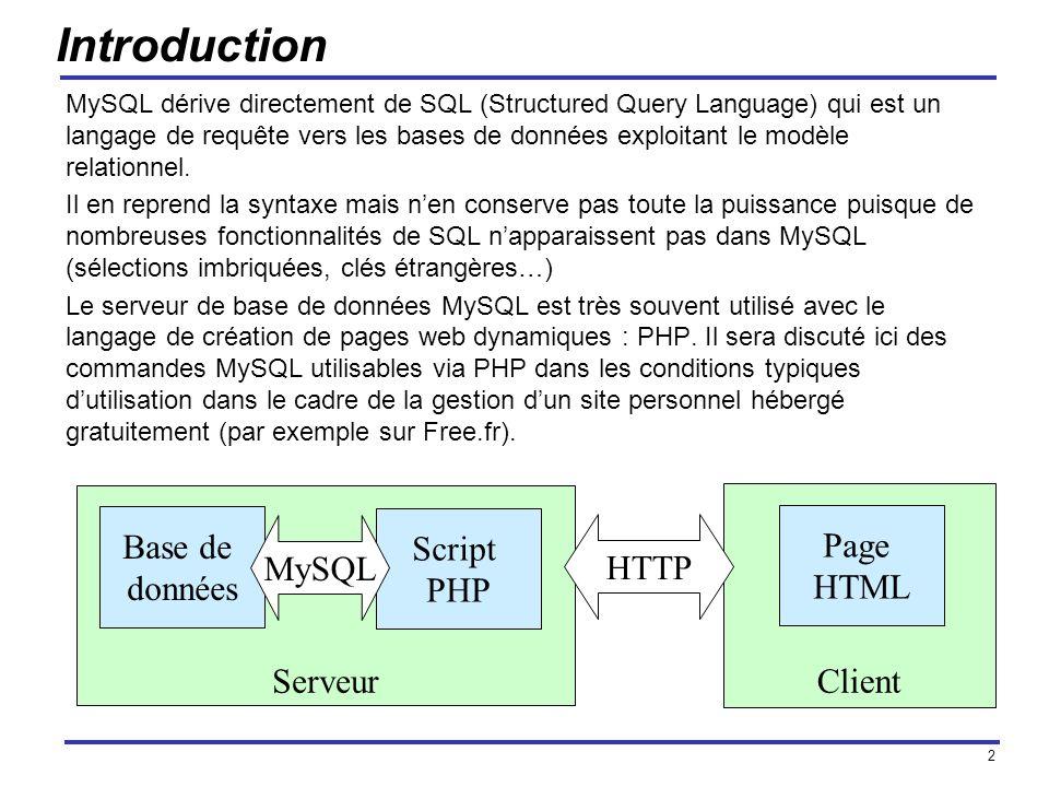 2 Serveur Introduction MySQL dérive directement de SQL (Structured Query Language) qui est un langage de requête vers les bases de données exploitant