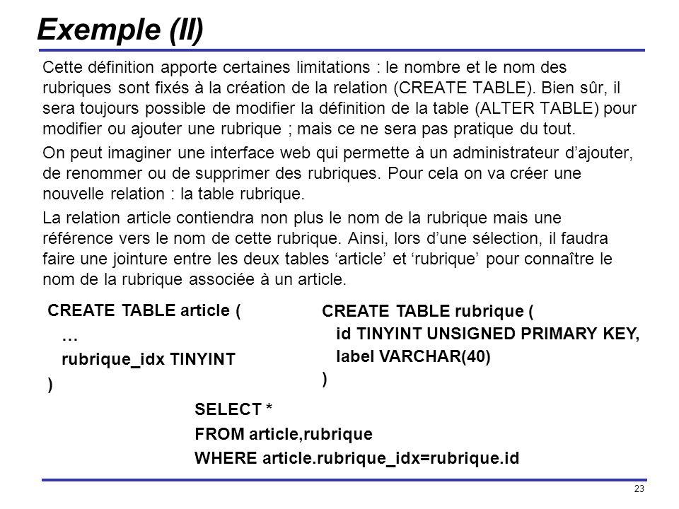 23 Exemple (II) Cette définition apporte certaines limitations : le nombre et le nom des rubriques sont fixés à la création de la relation (CREATE TAB