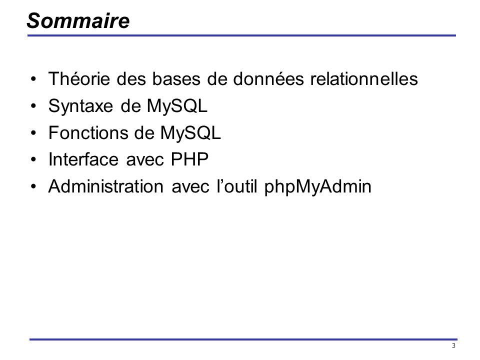 3 Sommaire Théorie des bases de données relationnelles Syntaxe de MySQL Fonctions de MySQL Interface avec PHP Administration avec loutil phpMyAdmin