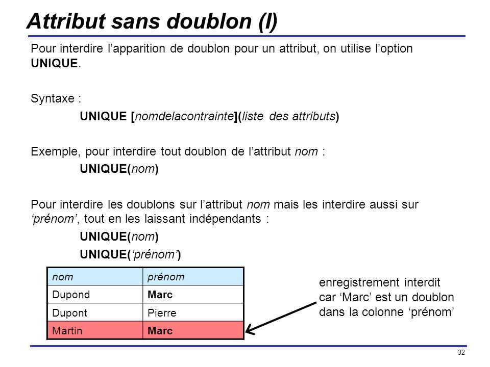 32 Attribut sans doublon (I) Pour interdire lapparition de doublon pour un attribut, on utilise loption UNIQUE. Syntaxe : UNIQUE [nomdelacontrainte](l