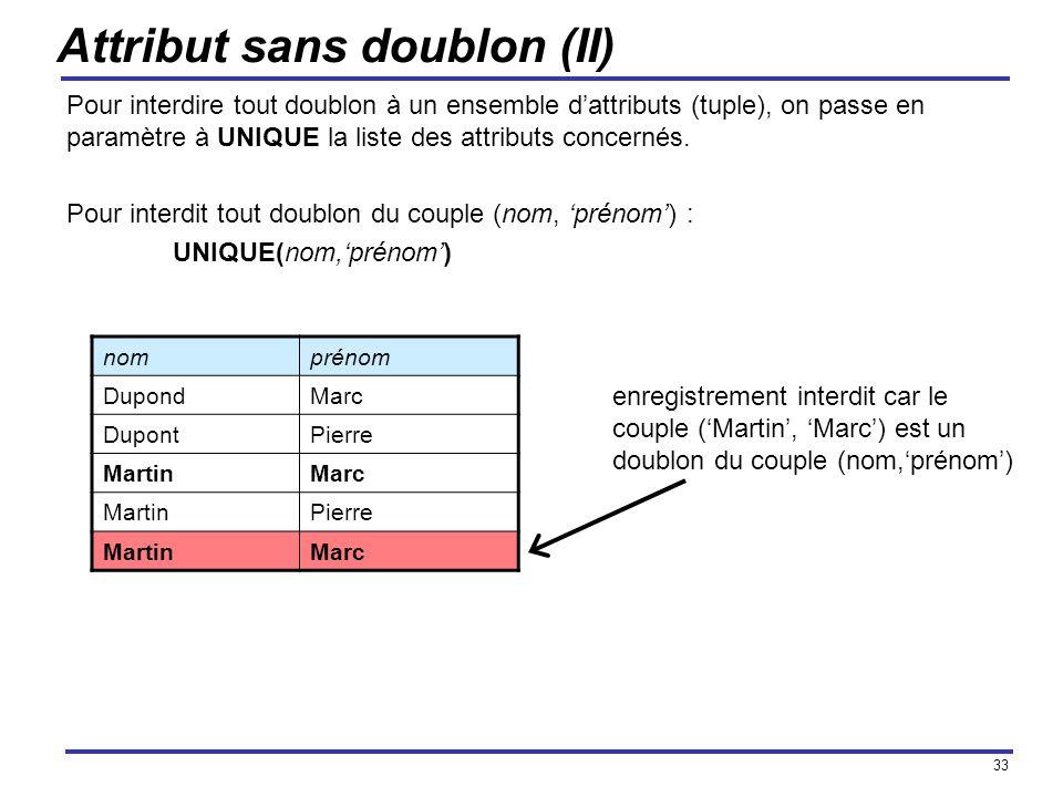 33 Attribut sans doublon (II) Pour interdire tout doublon à un ensemble dattributs (tuple), on passe en paramètre à UNIQUE la liste des attributs conc