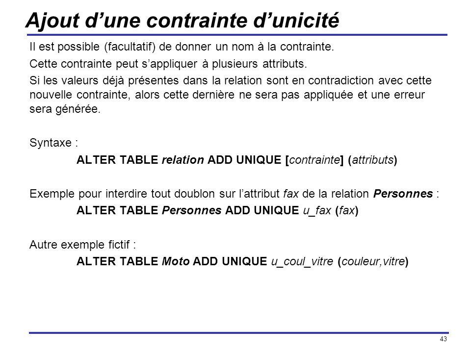 43 Ajout dune contrainte dunicité Il est possible (facultatif) de donner un nom à la contrainte. Cette contrainte peut sappliquer à plusieurs attribut