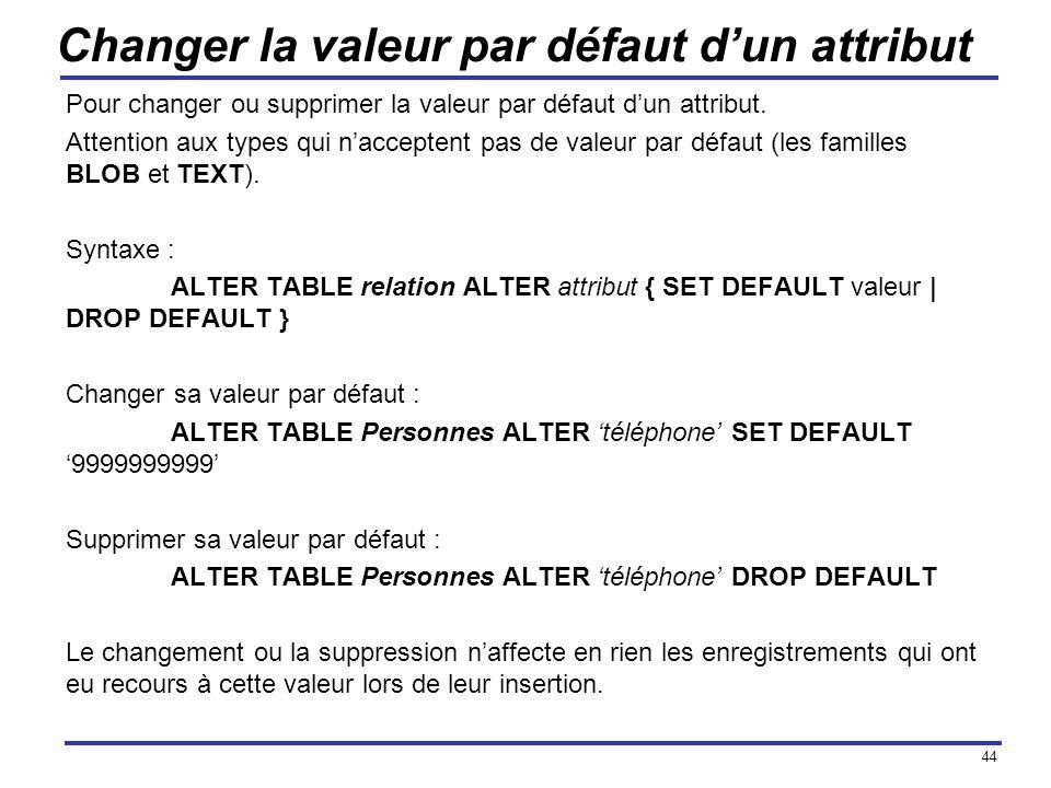 44 Changer la valeur par défaut dun attribut Pour changer ou supprimer la valeur par défaut dun attribut. Attention aux types qui nacceptent pas de va