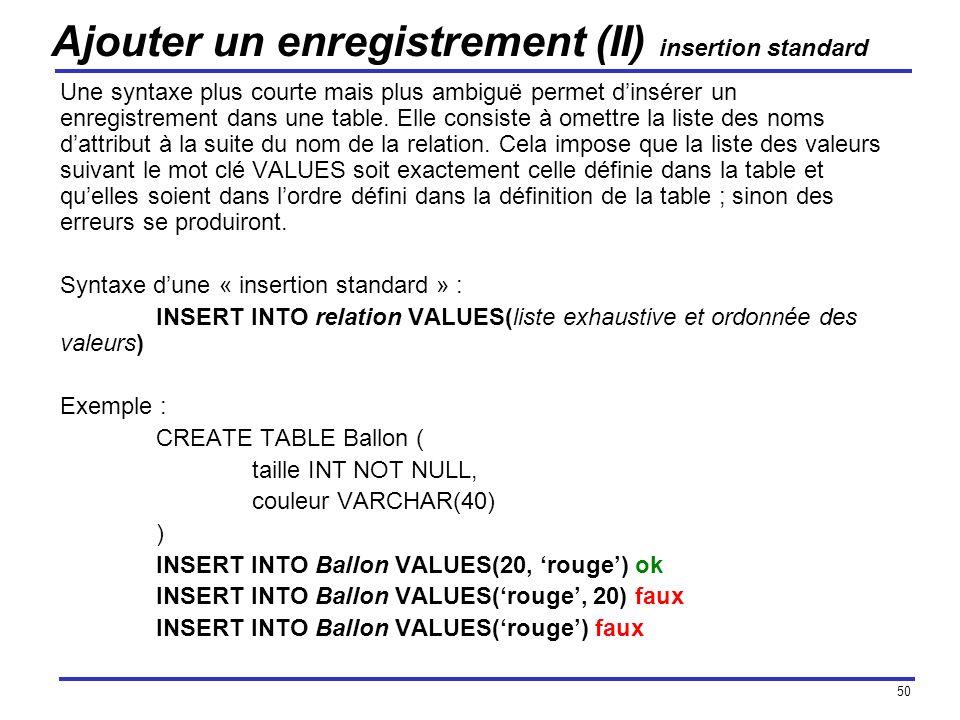 50 Ajouter un enregistrement (II) insertion standard Une syntaxe plus courte mais plus ambiguë permet dinsérer un enregistrement dans une table. Elle