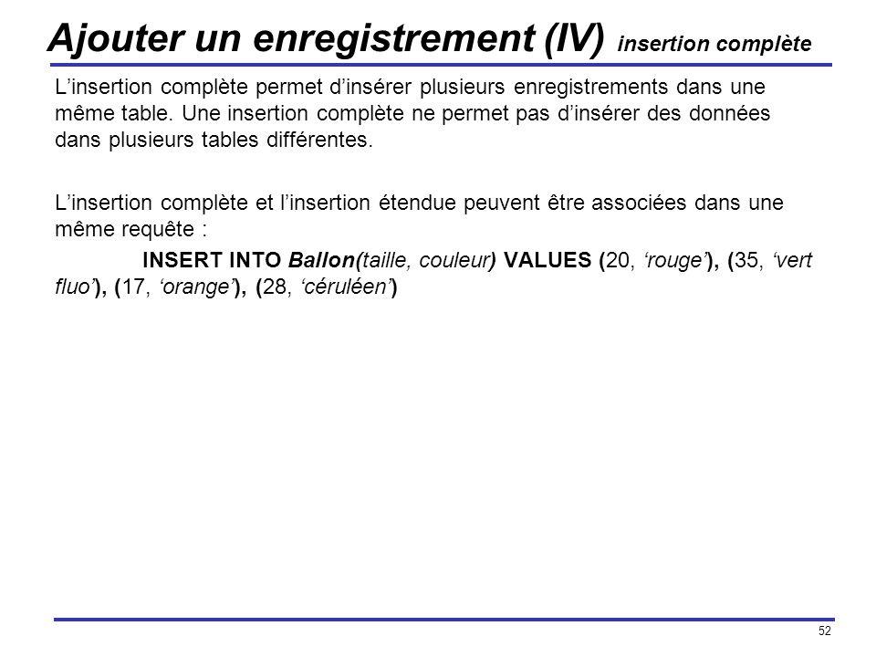 52 Ajouter un enregistrement (IV) insertion complète Linsertion complète permet dinsérer plusieurs enregistrements dans une même table. Une insertion