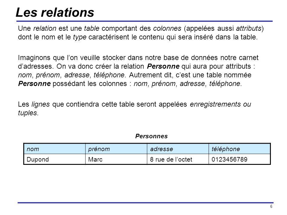 6 Les relations Une relation est une table comportant des colonnes (appelées aussi attributs) dont le nom et le type caractérisent le contenu qui sera