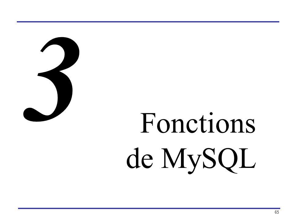 65 Fonctions de MySQL 3