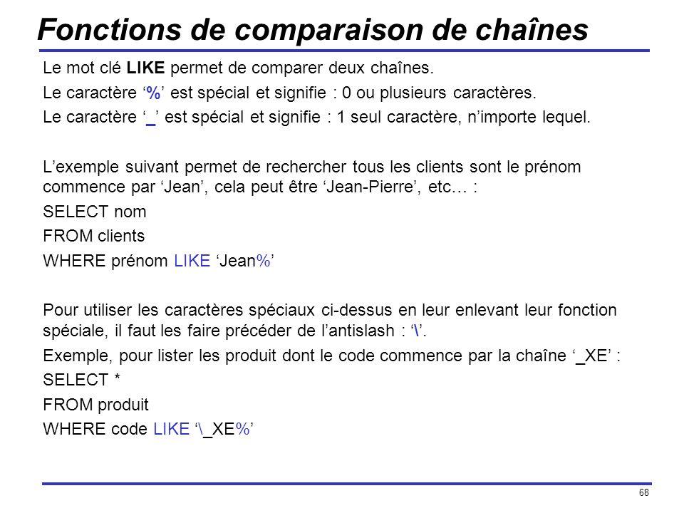 68 Fonctions de comparaison de chaînes Le mot clé LIKE permet de comparer deux chaînes. Le caractère % est spécial et signifie : 0 ou plusieurs caract
