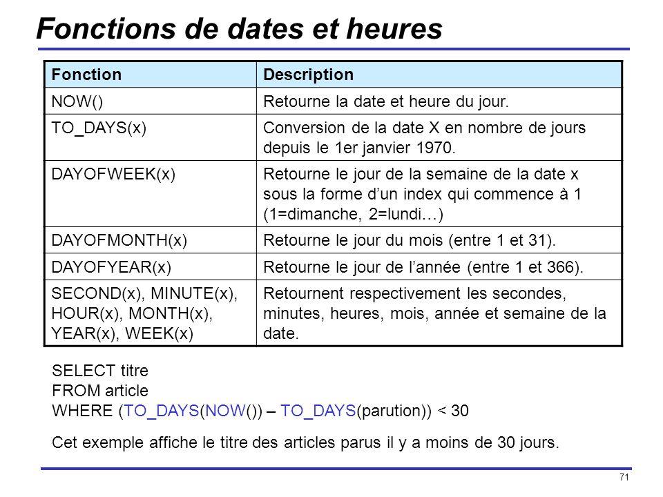 71 Fonctions de dates et heures FonctionDescription NOW()Retourne la date et heure du jour. TO_DAYS(x)Conversion de la date X en nombre de jours depui