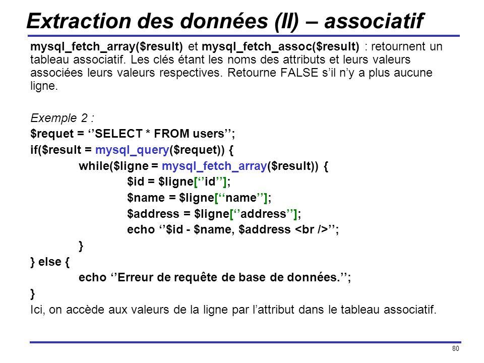 80 Extraction des données (II) – associatif mysql_fetch_array($result) et mysql_fetch_assoc($result) : retournent un tableau associatif. Les clés étan