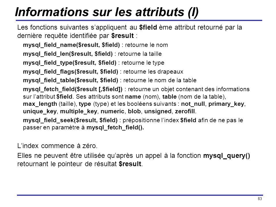 83 Informations sur les attributs (I) Les fonctions suivantes sappliquent au $field ème attribut retourné par la dernière requête identifiée par $resu