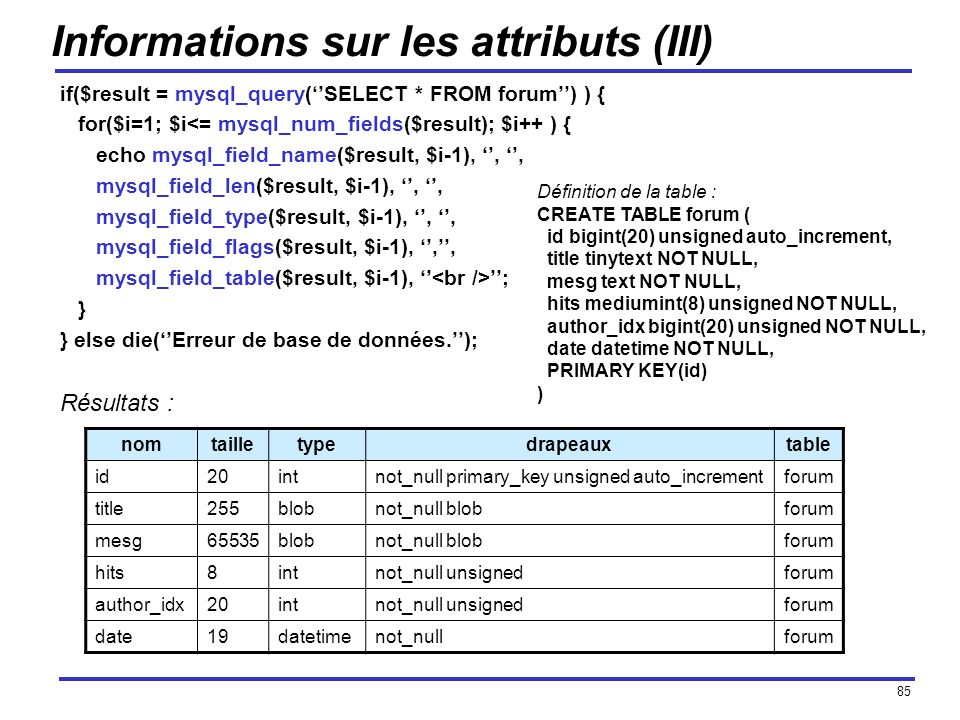 85 Informations sur les attributs (III) if($result = mysql_query(SELECT * FROM forum) ) { for($i=1; $i<= mysql_num_fields($result); $i++ ) { echo mysq
