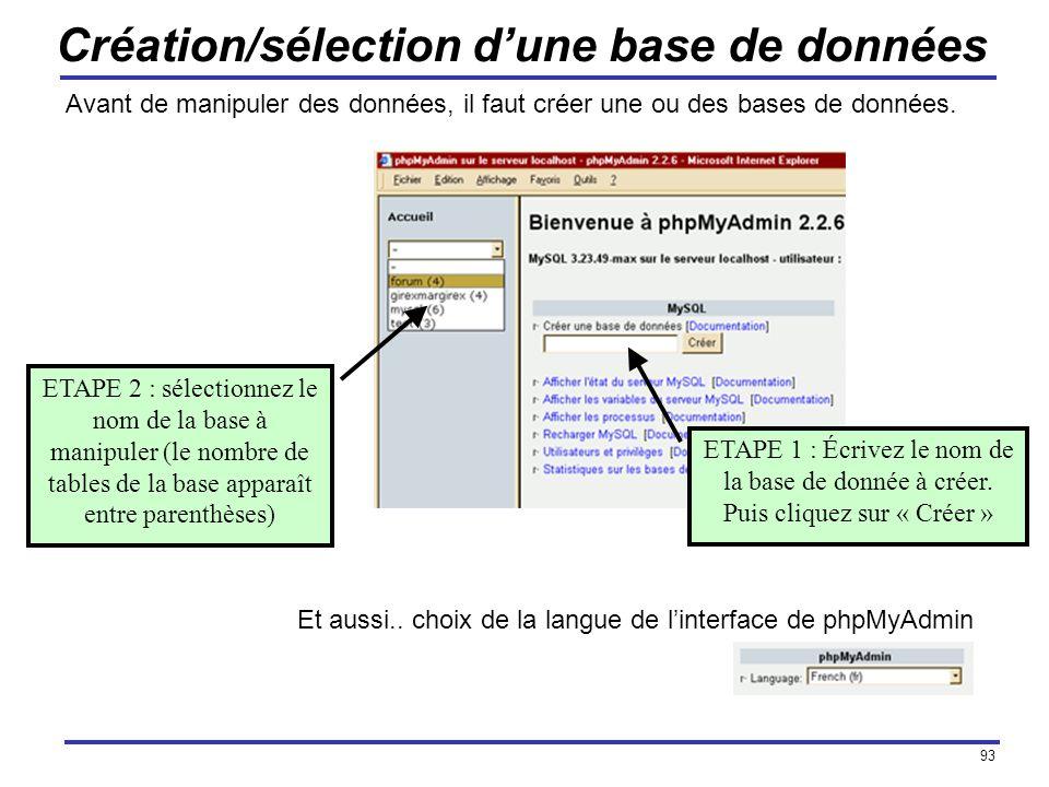 93 Création/sélection dune base de données Avant de manipuler des données, il faut créer une ou des bases de données. ETAPE 1 : Écrivez le nom de la b
