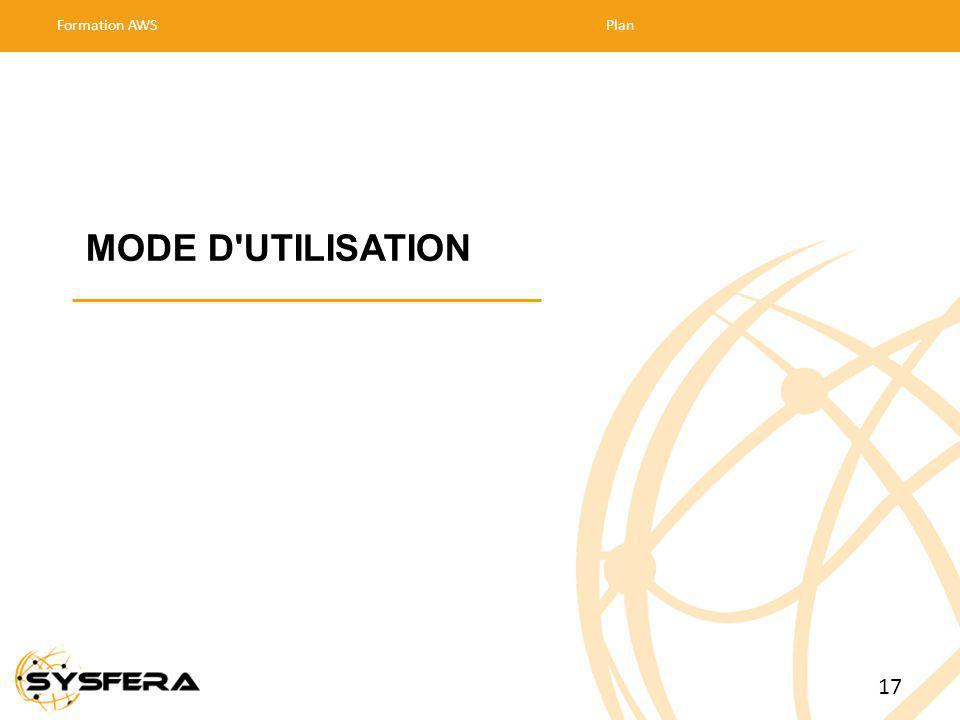 MODE D UTILISATION Formation AWSPlan 17