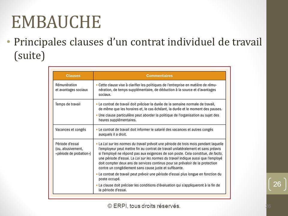 26 EMBAUCHE Principales clauses dun contrat individuel de travail (suite) © ERPI, tous droits réservés. 26