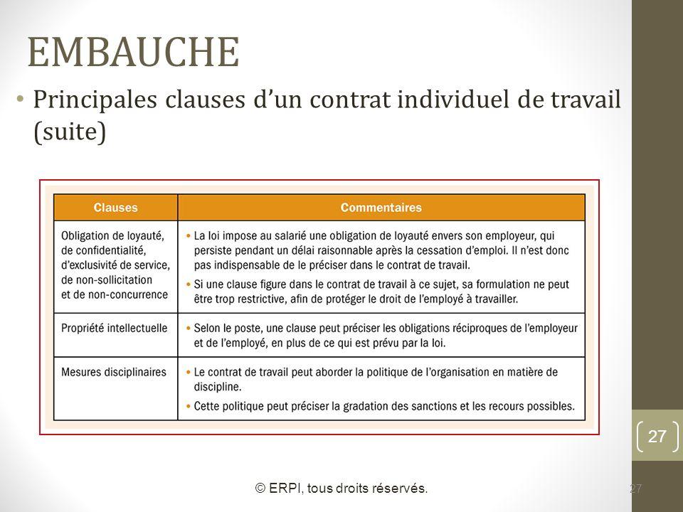 27 EMBAUCHE © ERPI, tous droits réservés. 27 Principales clauses dun contrat individuel de travail (suite)