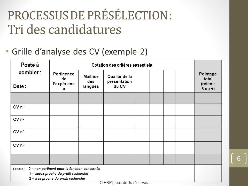 6 PROCESSUS DE PRÉSÉLECTION : Tri des candidatures Grille danalyse des CV (exemple 2) © ERPI, tous droits réservés. Poste à combler : Date : Cotation