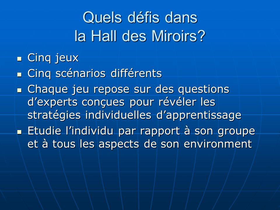 Quels défis dans la Hall des Miroirs? Cinq jeux Cinq jeux Cinq scénarios différents Cinq scénarios différents Chaque jeu repose sur des questions dexp