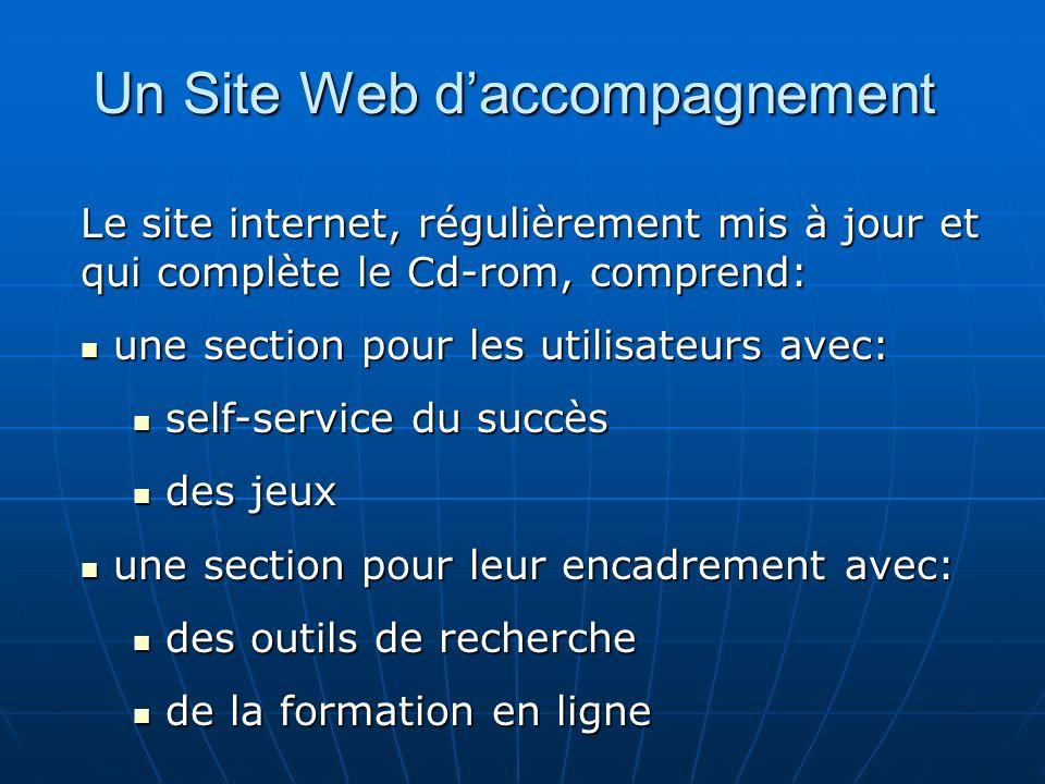 Un Site Web daccompagnement Le site internet, régulièrement mis à jour et qui complète le Cd-rom, comprend: une section pour les utilisateurs avec: un