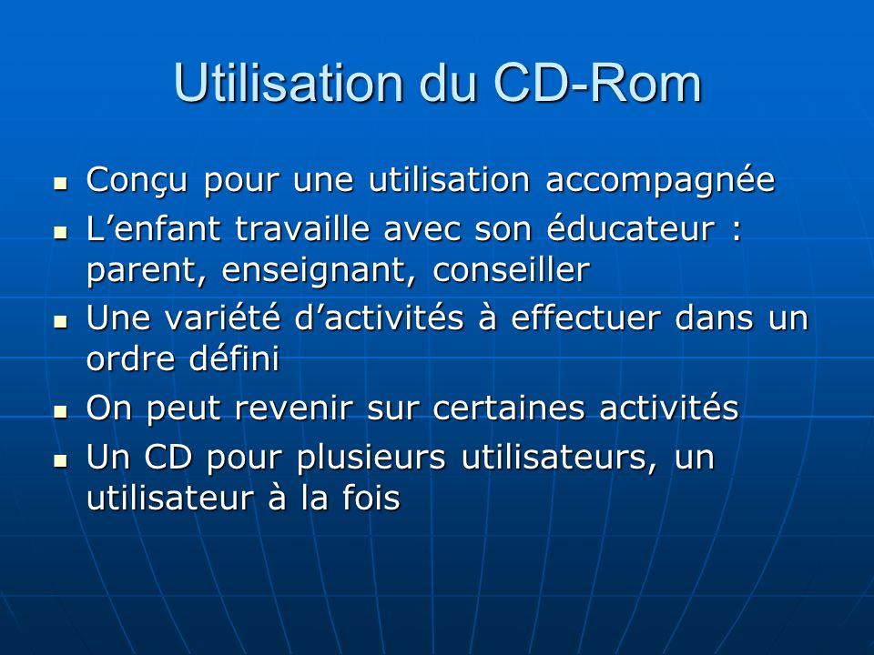 Utilisation du CD-Rom Conçu pour une utilisation accompagnée Conçu pour une utilisation accompagnée Lenfant travaille avec son éducateur : parent, ens