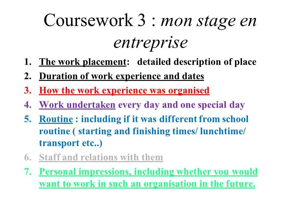 On compare la routine normale et la routine pendant le stage On parle des activités pendant le stage avec limparfait
